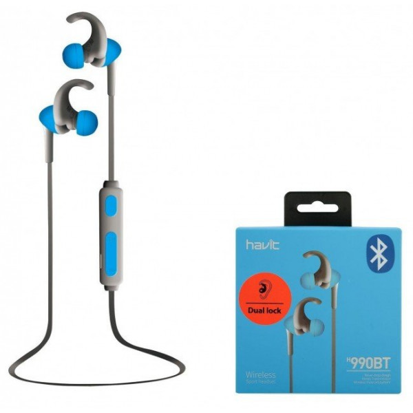 Ausinės HAVIT 990 BT earhook earphones, 4h play (blue)