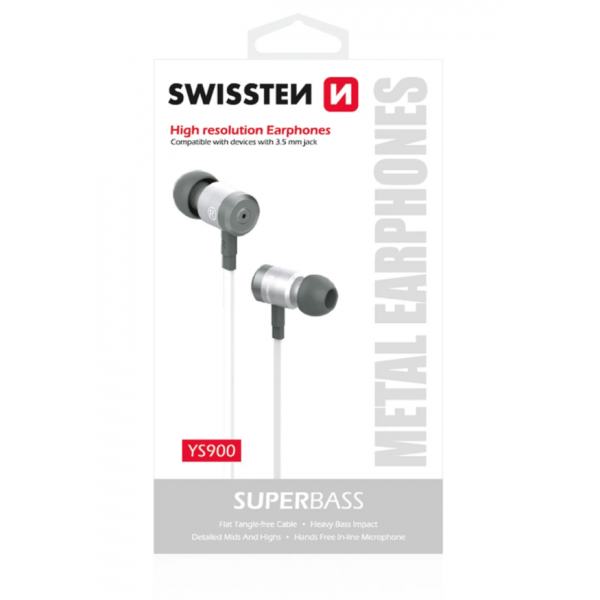 SWISSTEN SUPERBASS EARBUDS METAL YS900 STEREO HEADSET WITH MICROPHONE 3,5MM / 1.2M WHITE