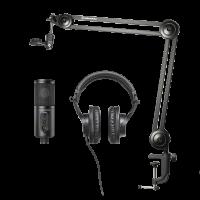 AUSINIŲ, MIKROFONO IR LAIKIKLIO KOMPLEKTAS Audio Technica CREATOR PACK USB/3.5 mm, Black
