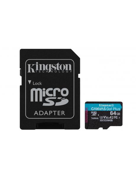 Atminties kortelė Kingston microSD Canvas Go! Plus 64 GB, MicroSD, Flash memory class 10, SD Adapte
