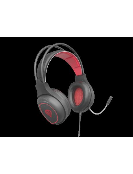 AUSINĖS GENESIS RADON 300 Gaming Headset, On-Ear, Wired, Microphone, Black/Red