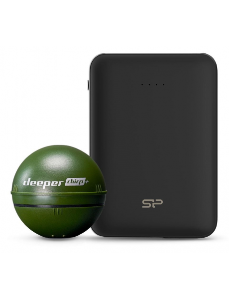 Echolotas Deeper CHIRP+ and Silicon Power Bank C100 bundle Sonar, Military Green