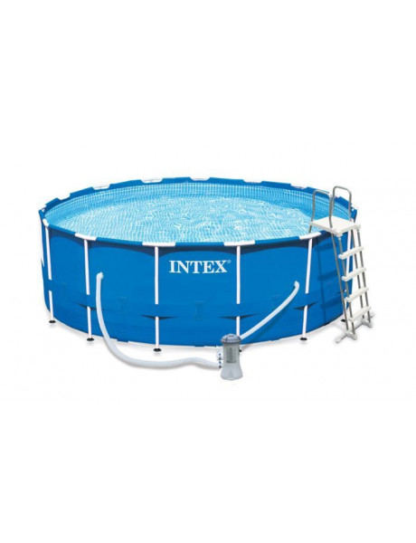Baseinas Intex Metal Fram Pool Set with Filter Pump, Safety Ladder, GroundCloth, Cover Blue, Age 6
