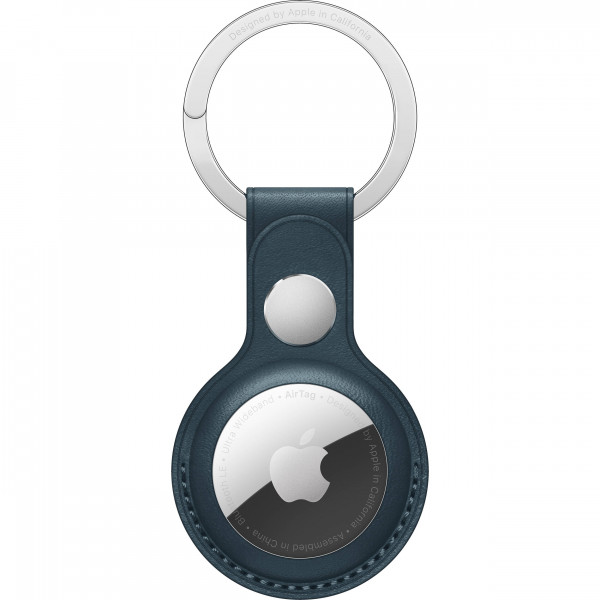 AirTag Leather Key Ring - Baltic Blue