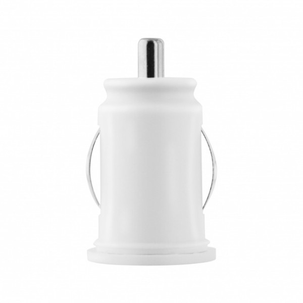 TOTI Dual USB Car Charger with Lightning non-MFI cable 1m 2.1A, White