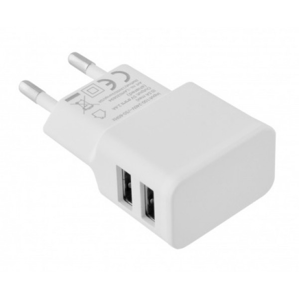 TOTI Wall Charger with Lightning Cable, 1 m, Dual USB 2.4A , White