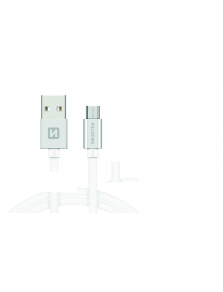 Swissten Textile Universal Micro USB Data and Charging Cable 1.2m Silver