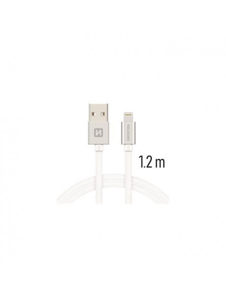 SWISSTEN TEXTILE FASTCHARGE 3A LIGHTNING MD818ZM/A DATA ANDCHARGING CABLE 1.2MSILVER