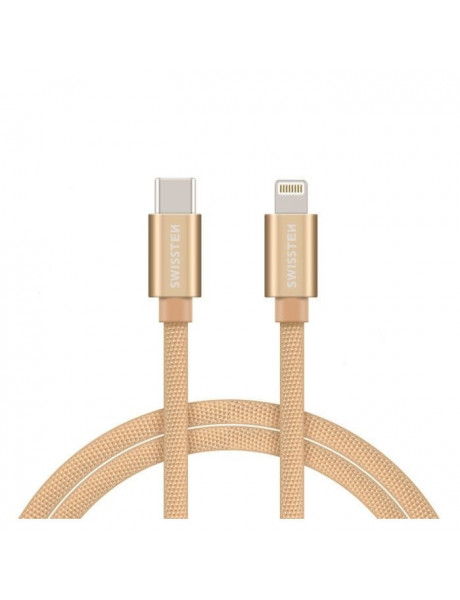 SWISSTEN TEXTILE USB-C TO LIGHTNING (MD818ZM/A) DATA AND CHARGING CABLE FAST CHARGE / 3A / 1.2M GOLD