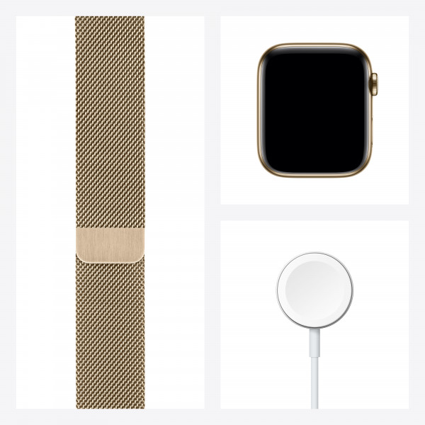 Išmanusis laikrodis Apple Watch Series 6 GPS + Cellular, 44mm Gold Stainless Steel Case with Gold Mi