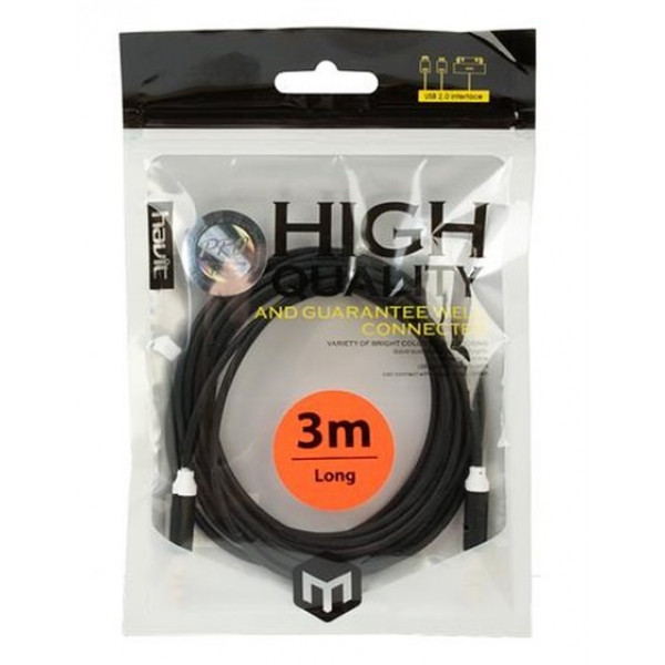 LAIDAS HAVIT M.CUBE 881 3.5MM AUDIO CABLE, 3M (BLACK) (BAG)