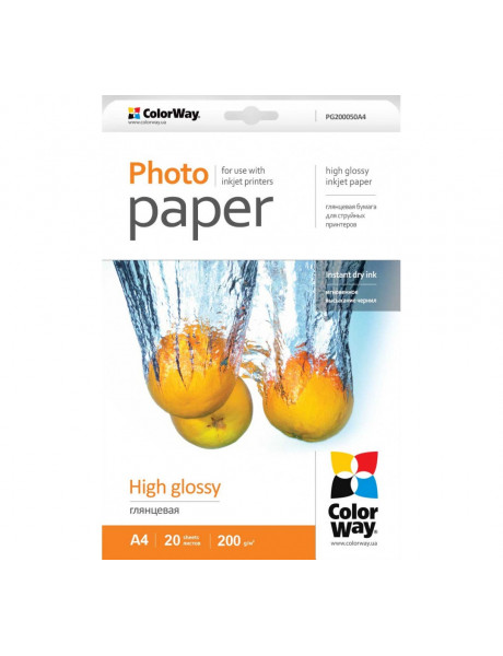 Fotopopierius ColorWay A4, High Glossy Photo Paper, 20 Sheets, A4, 200 g/m²