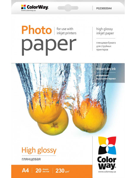 ColorWay Photo Paper 20 pc. PG230020A4 Glossy, A4, 230 g/m²