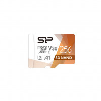 Silicon Power Superior Pro 256 GB, micro SDXC, Flash memory class 10, with Adapter, C10,UHS-I U3, A1, V30