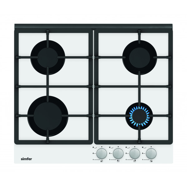 Simfer Hob H6.401.HGSBB Gas on glass, Number of burners/cooking zones 4, Rotary painted inox knobs, White