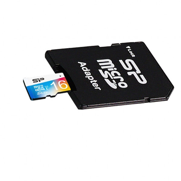 Silicon Power Elite UHS-1 Colorful 16 GB, MicroSDHC, Flash memory class 10, SD adapter