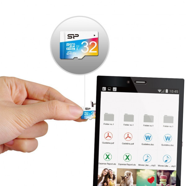 Silicon Power Elite UHS-1 Colorful 32 GB, MicroSDHC, Flash memory class 10, SD adapter