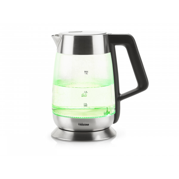 Tristar Kettle WK-3375 With electronic control, Glass, Stainless steel/Black, 2200 W, 360° rotational base, 1.8 L
